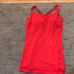 Bright Red Lulu Lemon Workout Top.